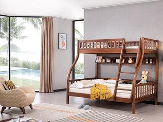 意式极简 坚忍胡桃木框架 耐久耐用 清楚木纹 环保安康漆 子母床