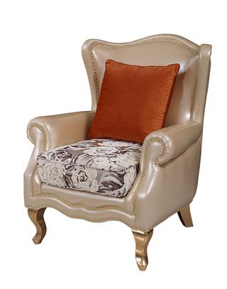 673#瑞德家居  美式轻奢气概 卡斯楠木  高级皮布休闲椅