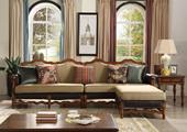 139#瑞德家居 普罗旺斯系列 简美气概 实木框架 布靠背 布座包 沙发套装(2+2+脚踏)