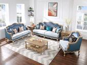 B175#瑞德家居 维多利亚系列  简美气概  实木框架  皮布连系沙发套装(1+2+3)