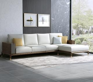 B803#瑞德家居  北欧乡村风格 白蜡木框架  布艺沙发套装(3+左贵妃)