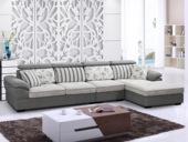 【纾康】实木框架 超柔植绒布料 古代休闲气概转角沙发(1+3+左贵妃)1701