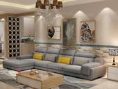 纳德威 北欧宜家布艺沙发组合大户型繁复 靠枕可调理客堂家具浅灰色1+3+右贵妃
