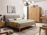 荣之鼎 优良入口橡胶木框架 原木色+卡其色 北欧气概1.8米布艺床