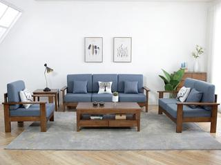 古代繁复实木沙发 胡桃色布艺沙发 中式实木 北欧布艺 大户型家用 沙发组合(1+2+3)