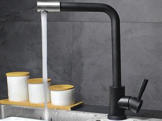 【包邮 送货到楼下(偏僻地域除外)】 抗锈304不锈钢360度自在扭转起泡式节水厨房水槽冷热水龙头玄色T15HEI