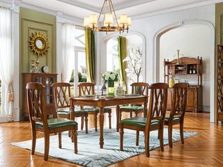 美式实木餐桌1.35米 长方形餐桌 金丝柚木色美式餐桌 古代繁复美式实木餐桌 单餐桌 美式餐厅饭桌