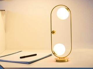北欧气概 铁艺烤漆+玻璃8033-2金色台灯(含E27矮泡5W白光)