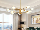 领秀照明 北欧气概 铁艺加玻璃灯罩2250-10吊灯(含G9光源5w暖光)图为12头 现实10头