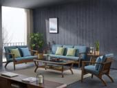 源木光阴 北欧气概 北美入口洋蜡木 布艺沙发 冬夏两用沙发 沙发组合(1+2+3)
