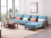 源木光阴 北欧气概 北美入口洋蜡木 科技布沙发 转角沙发组合沙发(4人位+脚踏)