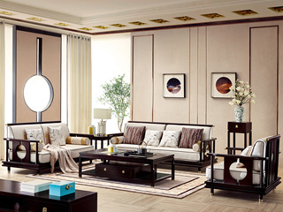 新中式 西北亚入口红檀木 高紧密提花面料 K902 沙发组合(1+2+3)