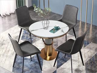 轻奢气概 大理石 不锈钢电镀钛金拉丝 铁柱 0.6m大理石洽商桌