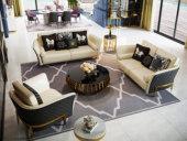 卡伦斯特 轻奢气概 入口实木 优良超纤皮 不锈钢拉丝封釉镀钛金 组合沙发(1+2+3)(抱枕随机发货)