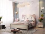 梓华轩 简美 卡慕斯系列 泰国入口橡胶木 浅笑猫咪 1.2*1.9m儿童床