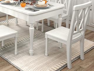 简美气概 泰国入口橡胶木 全实木 象牙白餐椅