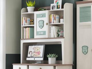 简美气概 主材北美洋蜡木 新西兰松木 北美红橡木 深咖色 象牙白 双拼色 儿童书架