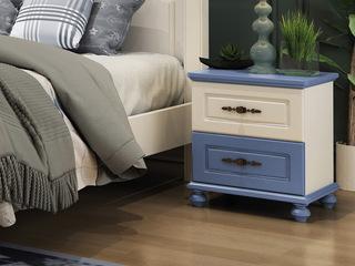 简美气概 优良橡胶木 环保安康 开阔爽朗天蓝儿童床头柜