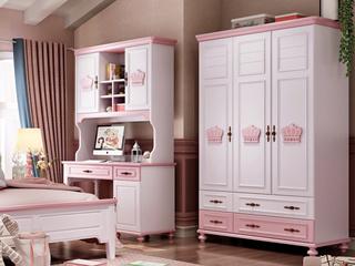 简美气概 优良橡胶木 环保安康 芳华粉白 儿童衣柜