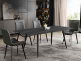 菲格 极简气概 直边圆角岩板台面 金属圆角脚 1.8米餐桌