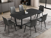 菲格 极简气概 直边圆角岩板台面 碳素金属脚 1.3米餐桌
