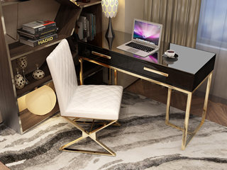 轻奢气概 镀金不锈钢 细致滑腻台面 时髦黑 0.9m书桌