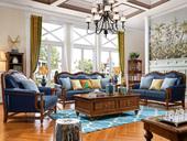 维格兰 简美气概 沙发套装 高雅温馨 纯粹油蜡皮 入口橡胶木 高弹海绵 人道化设想 皮布沙发沙发组合(1+2+3)