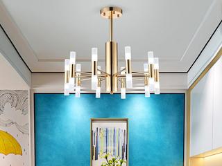 后古代 艺术特性 餐厅咖啡厅旅店会所别墅装潢吊灯 金色 20头 (含G4暖光3W)