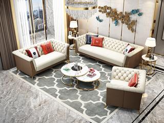 轻奢气概 皮艺 俄罗斯入口松木框架 沙发组合(1+2+3)(抱枕随机发货)