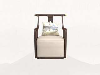 新中式气概 乌金木+皮艺 极简工艺单人 休闲椅
