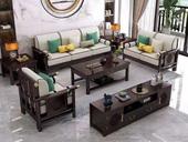 华韵  新中式  客堂 家用  高回弹海绵  棉夏布 松木架 沙发橡木实木脚  三人位