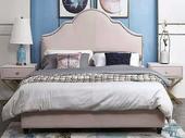 卡伦斯特 轻奢 齐边床 布艺1.5*2.0米床搭配一个床头柜 组合套装