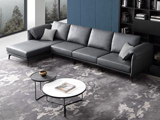 古代繁复 皮艺 深蓝色 转角沙发(1+3+右贵妃)