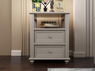 简美风格 泰国进口橡胶木 全实木 时尚灰床头柜