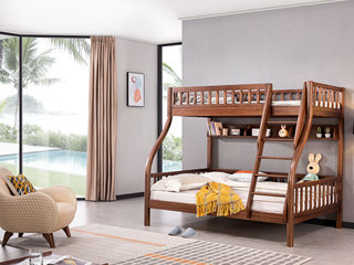 意式极简 坚固胡桃木框架 经久耐用 清晰木纹 环保健康漆 子母床