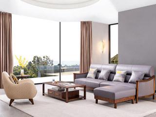 意式极简 时尚科技布 坚固胡桃木框架 密度海绵云朵坐感 简约大气 四人位脚踏沙发组合