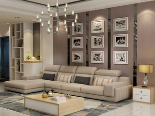 北欧宜家布艺沙发组合小户型简约 靠枕可调节客厅家具卡其色1+3+右贵妃