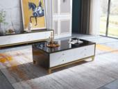 卡罗亚 轻奢风格 钢化玻璃台面 黑白色 1.2米茶几