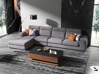 现代简约 优质科技绒布+公仔棉 1+3+右贵妃 沙发组合