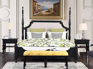 北美进口橡胶木+俄罗斯进口黄杨木 美式风格长床尾凳 嘉宝莉净味油漆