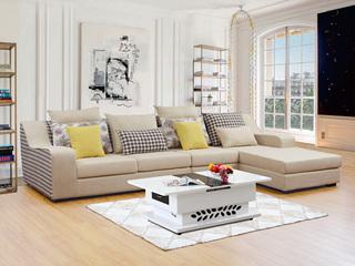 【】浅黄+格子麻布面料 贴合手型曲线扶手 现代风格转角沙发组合1562C(3+左贵妃)