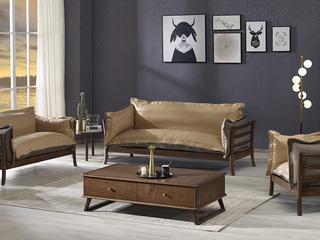 非色 意式极简羽绒沙发 经典胡桃色 白蜡木框体 皮艺+纯棉细麻布靠包北美进口白蜡木系列沙发组合1+2+3