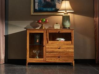 简乌金系列 乌金木(台面、抽面、框架)+玻璃(门板)+五金+铜制拉手餐边柜
