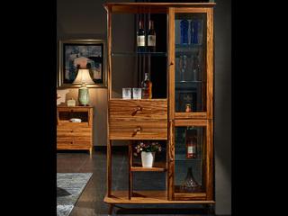 简乌金系列 乌金木(台面、抽面、框架)+玻璃(门板)+五金+铜制拉手间厅柜