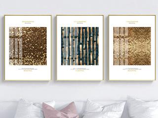 现代简约风格客厅装饰画 沙发背景墙装饰挂画金色岁月装饰画(三联画)