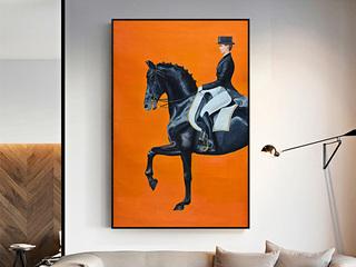 马美式客厅装饰画现代简约壁画大尺寸挂画酒店别墅大幅竖版玄关画