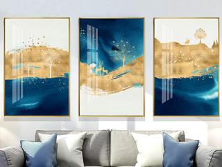 北欧抽象挂画现代客厅沙发背景墙装饰画玄关招财装饰画(三联画)