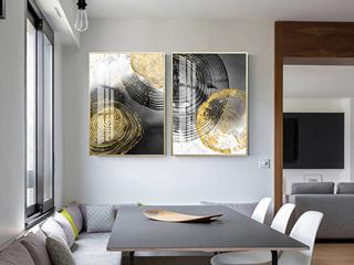 新中式沙发背景墙装饰画 现代简约客厅挂画大气轻奢抽象画(两联画)