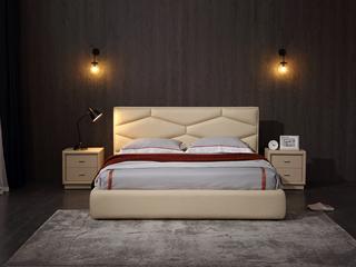 现代风格优雅菱形床头设计 流畅轮廓 亲肤柔软 科技皮艺 简约皮艺1.8米床
