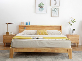 北欧风格 原始清晰木纹 优质进口橡胶木框架 1.8米原木色双人床
